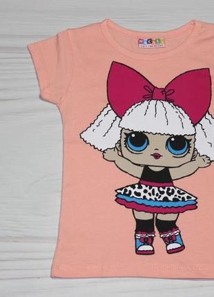 Хлопковая персиковая футболка с рисунком lol, турция