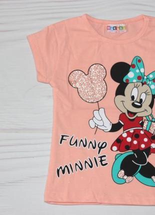 Хлопковая персиковая футболка с рисунком минни маус, турция