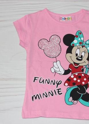 Хлопковая розовая футболка с рисунком минни маус, турция