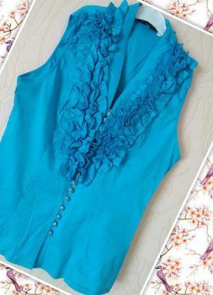 Летняя нежная небесно-голубая блуза с рюшами