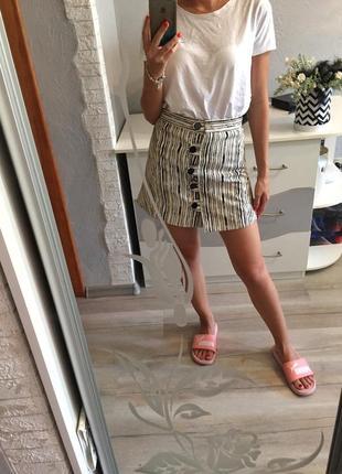 Стильная трендовая высокая юбка на пуговицах от topshop