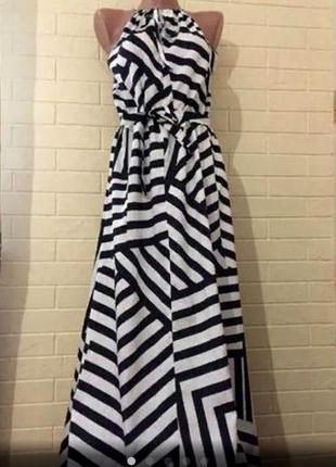 Шикарное длинное платье в полоску размер 10-12 (42--44)