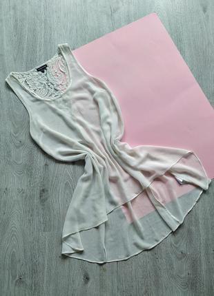 Шифоновая блуза с вышивкой бисером / туника / майка /накидка