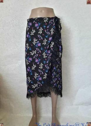 Фирменная george красочная юбка миди на запах в цветочный принт, размер с-м