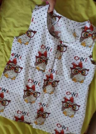 Пижама юбка-шорты, майка необычный покрой