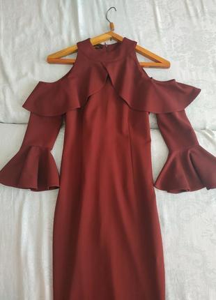 Трендовое платье с воланами,выпускное