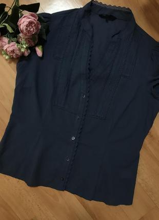 Батистовая рубашка/ блуза с кружевом и коротким рукавом ажурная 14