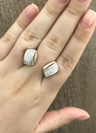 Серьги золотые серебряные сережки ромбик ромб квадрат камни