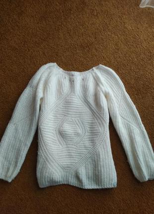 Шерстяной белый свитер итальянский кофта джемпер пуловер с альпака альпаки guess