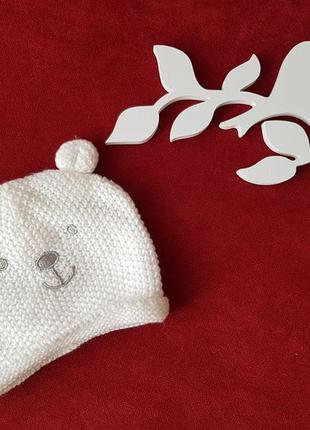 Вязаная шапочка для новорождённого с ушками george 0-3