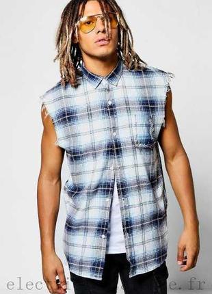 Новая рубашка в клетку без рукавов на лето