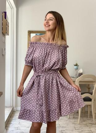 Платье оверсайз в горох family look1 фото