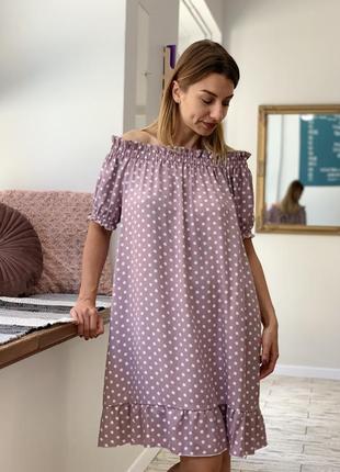 Платье оверсайз в горох family look3 фото