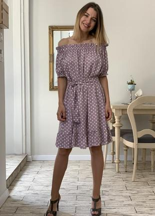 Платье оверсайз в горох family look4 фото