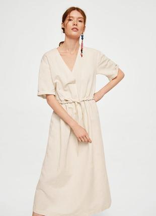 Льняное платье миди, платье из льна  mango