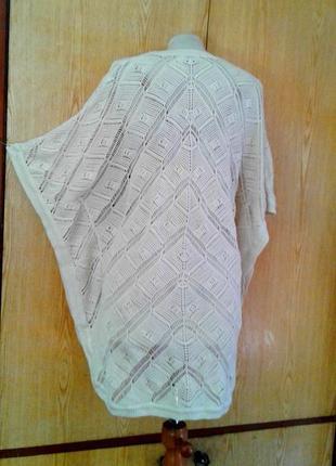 Хлопковая накидка молочгого цвета, 5xl, medium.2 фото