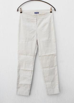Бежевые летние высокие класические  брюки