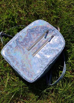 Кожаный серо-голубой рюкзак на заказ