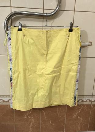 Летний костюм юбка блузка на замочке жёлтый в цветочный принт sassofono2 фото
