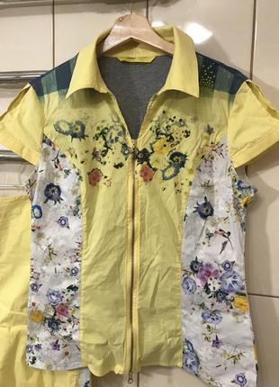 Летний костюм юбка блузка на замочке жёлтый в цветочный принт sassofono6 фото