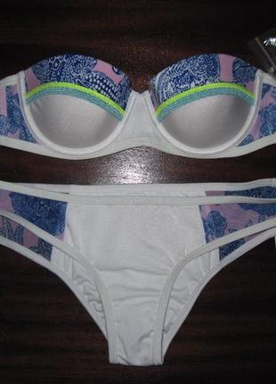Новый белый купальник бандо victoria's secret оригинал пуш-ап на маленькую грудь 75а 80а