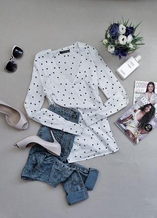 Модная трендовая белая рубашка/ блуза в горох от reserved.