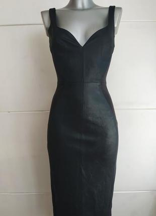 Стильное платье asos из натуральной кожи черного цвета