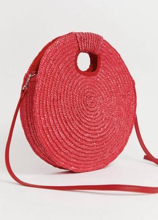Плетёная круглая соломенная сумка