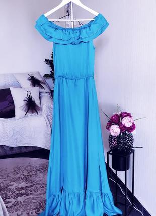 Роскошное бирюзовое платье/ сарафан макси с воланами.
