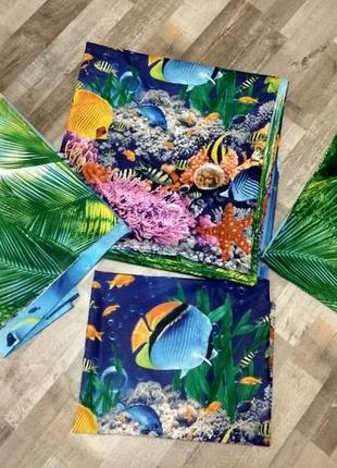 Подводный мир - натуральное постельное белье из перкаля,100 % хлопок2 фото