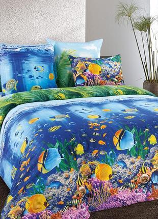 Подводный мир - натуральное постельное белье из перкаля,100 % хлопок1 фото