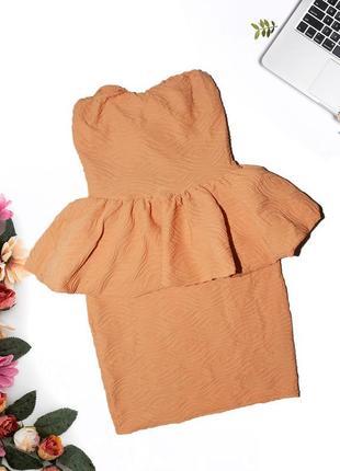 Платье с баской на талии paprika