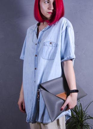 Голубая джинсовая рубашка, длинная рубашка, джинсовая рубашка с коротким рукавом