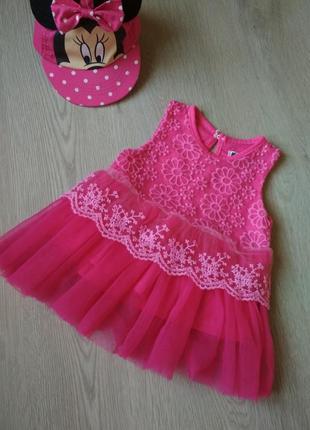 Стильное розовое платье 3-6мес. spunky kids 62-68см.