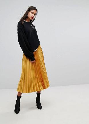 1+1=3 трендовая золотистая юбка миди плиссе mango, размер 42 - 44