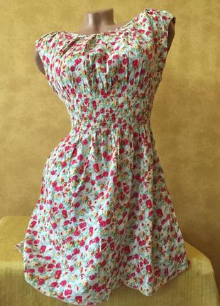 Милый короткий сарафан в цветочки /платье