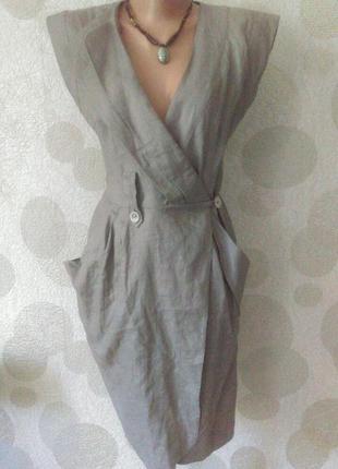 Льняное модное платье с карманами