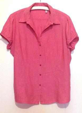Брендовая льняная женская розовая рубашка лен marco pecci