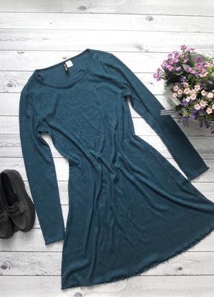 Трикотажное платье цвета морской волны, бирозовое1 фото