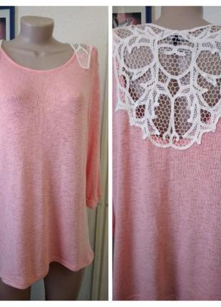 Красивая розовая кофточка с ажурной спинкой размер 18uk