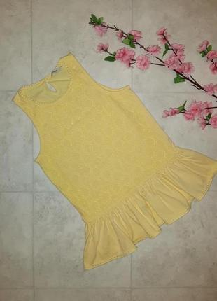 1+1=3 стильная желтая блуза кружево с баской george, размер 40 - 42