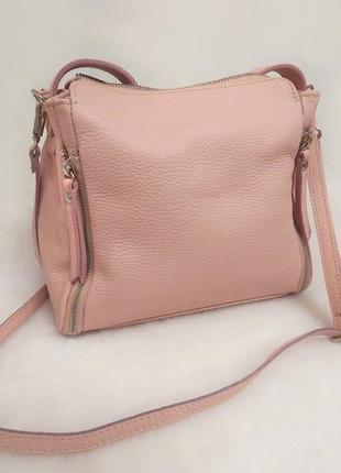 Идеальная летняя сумка натуральная 100% кожа розовая пудра