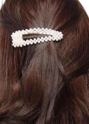 Заколка жемчуг украшение на волосы тренд