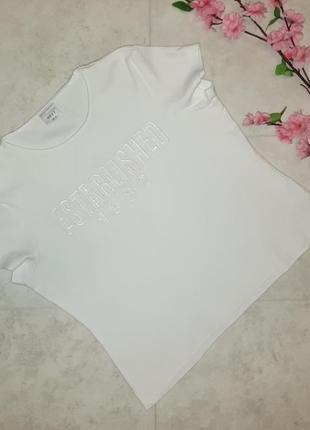 1+1=3 модная белая футболка с вышитой надписью next, размер 52 - 54