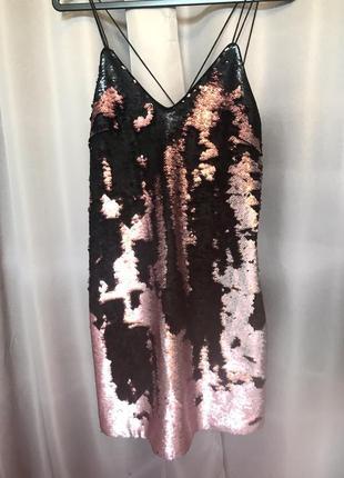 Платье комбинация на бретельках рыбья чешуя в пайетках