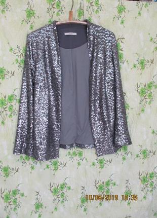 Стильный пиджак в пайетках /паетках/блейзер/серебристый uk 14-16-18/наш 50-52