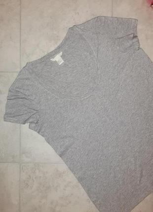 1+1=3 фирменная серая футболка h&m, размер 44 - 467 фото