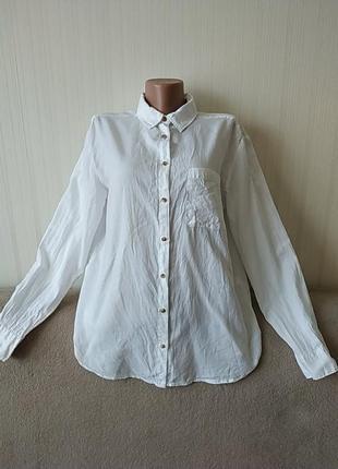 Рубашка белая с длинными рукавами, идеальное состояние, р 12-14