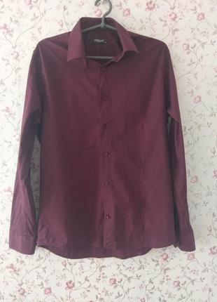 Мужская классическая рубашка цвета марсала фиолетовая бордовая