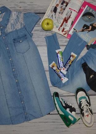 12/м-l фирменная натуральная джинсовая женская рубашка блузка блуза безрукавка с кружевом